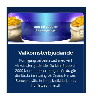 Få 100 % bonus upp till 2000 kr på Casino Heroes!