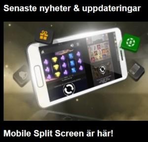 Använd Mobile Split Screen på Videoslots!