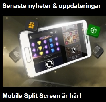 Använd Mobile Split Screen på Videoslots!