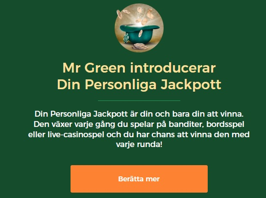 Mr Green introducerar Din Personliga Jackpott!